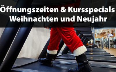 Öffnungszeiten und Kurs-Specials an Weihnachten und Neujahr